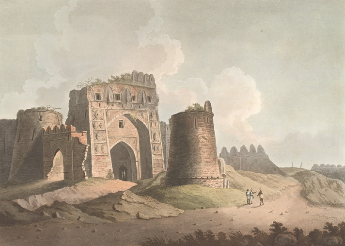 Western Gate of Feroze Shah's Cotillah, William Orme (1802)