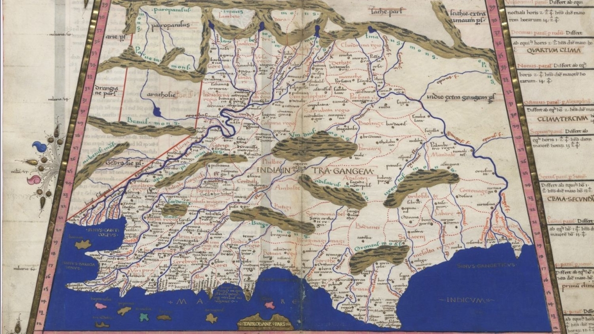 A 15th century version of Ptolemy's map of India