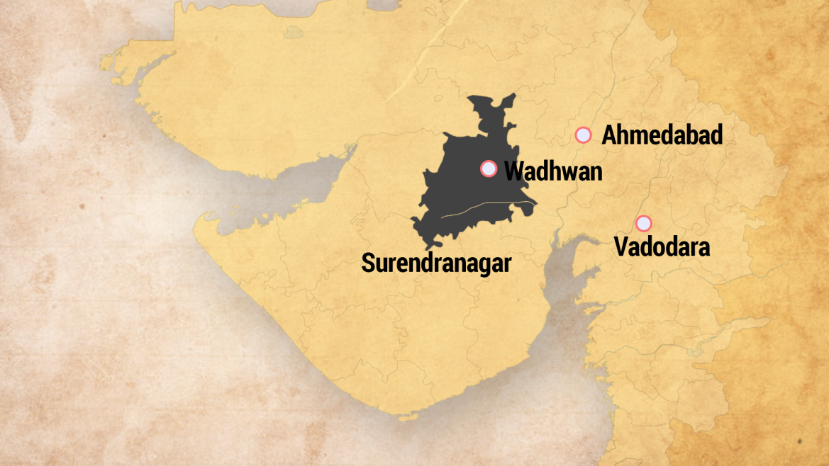 Location of Wadhwan in Saurashtra