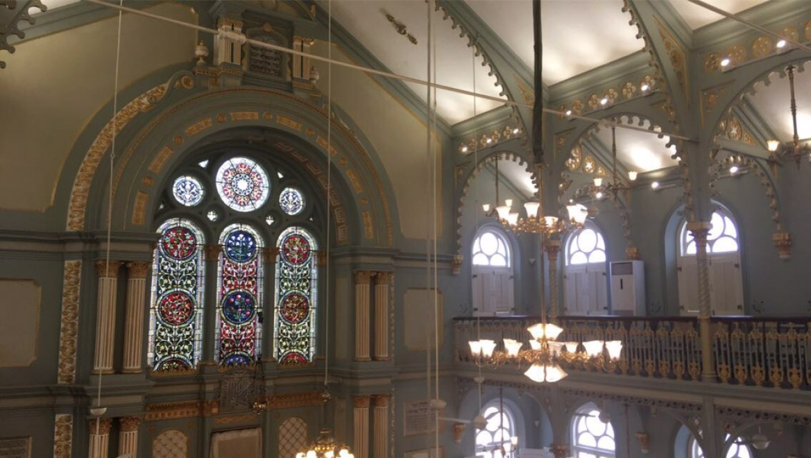 The restored interior of the Synagogue