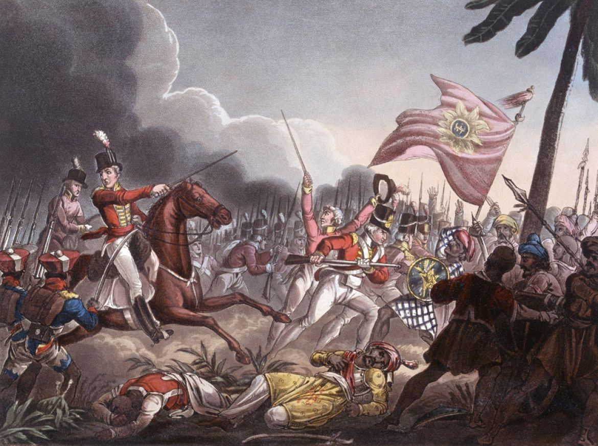 Arthur Wellesley (mounted) at the Battle of Assaye
