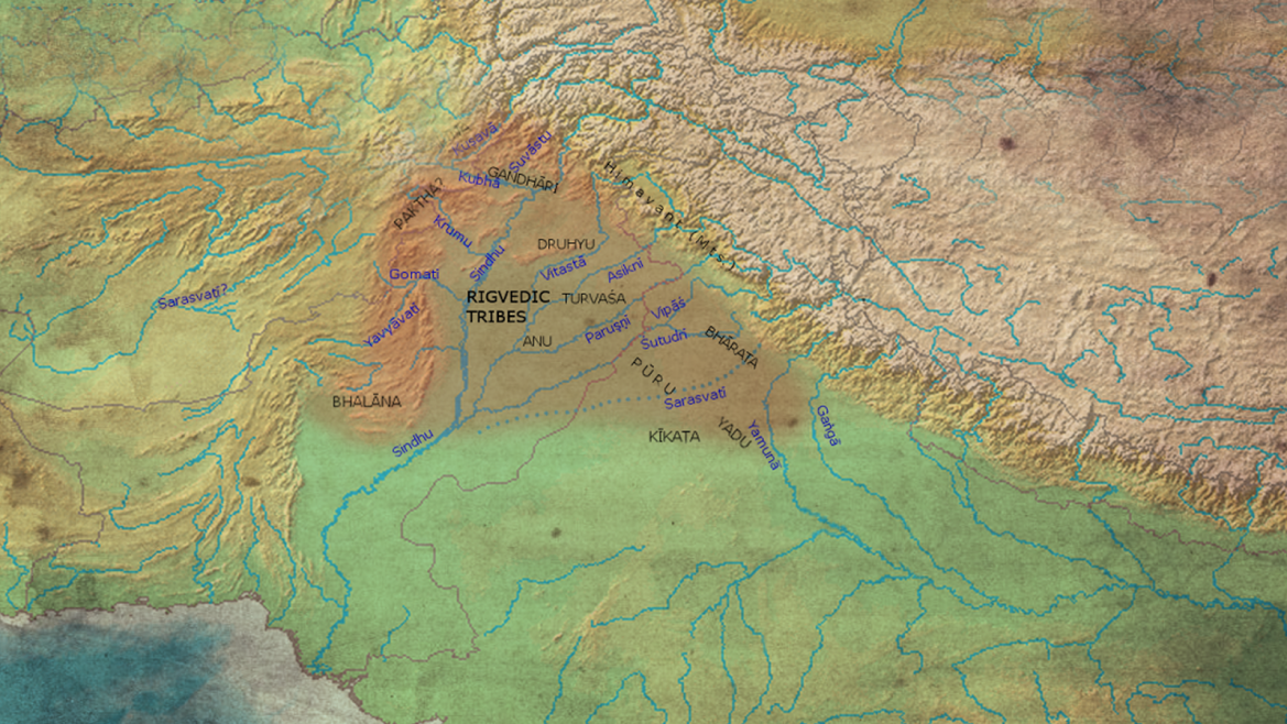 Map of Early Vedic Period (1700-1100 BCE) depicting the extent of Rigvedic culture