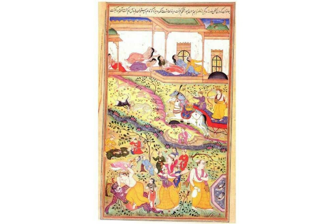 Pandavas saved from Lakshagriha, folio from Razmnama