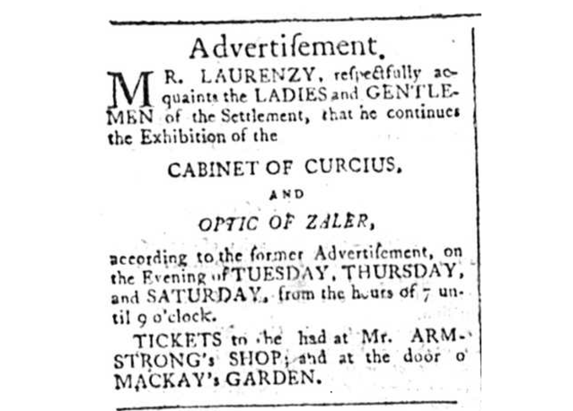 Dominick Laurency Advertisement, Madras Courier, 16th August 1795