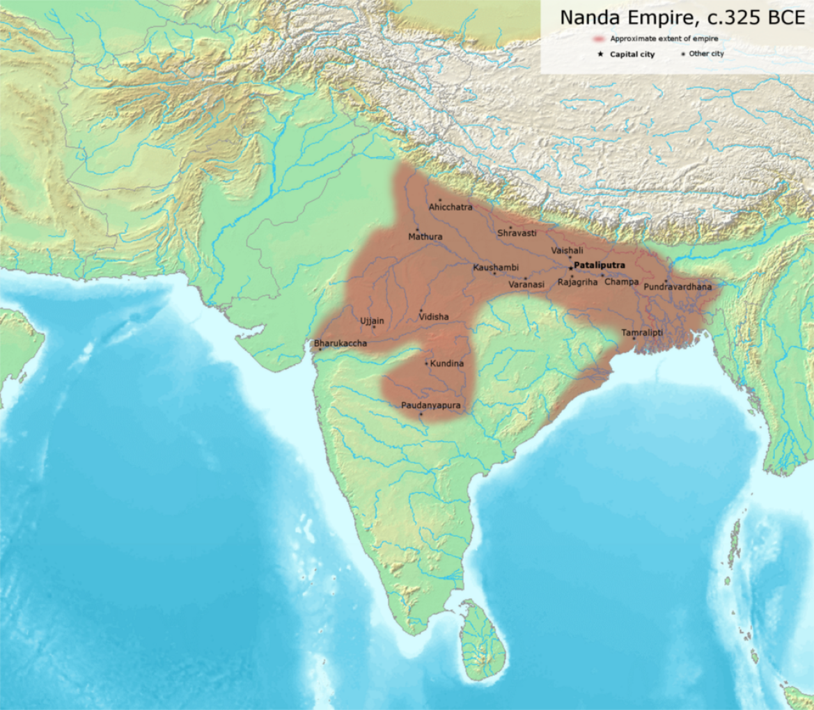 Possible extent of the Nanda Empire under its last ruler Dhana Nanda (c. 325 BCE).