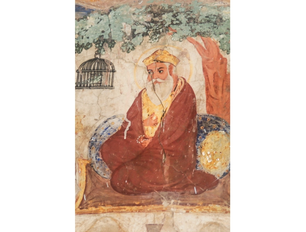 Mural painting of Guru Nanak from Gurdwara Baba Atal Rai, Amritsar
