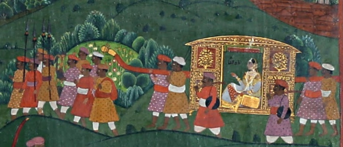 Close up of the hunting expedition where Mah Laqa Bai is accompanied by royal guards