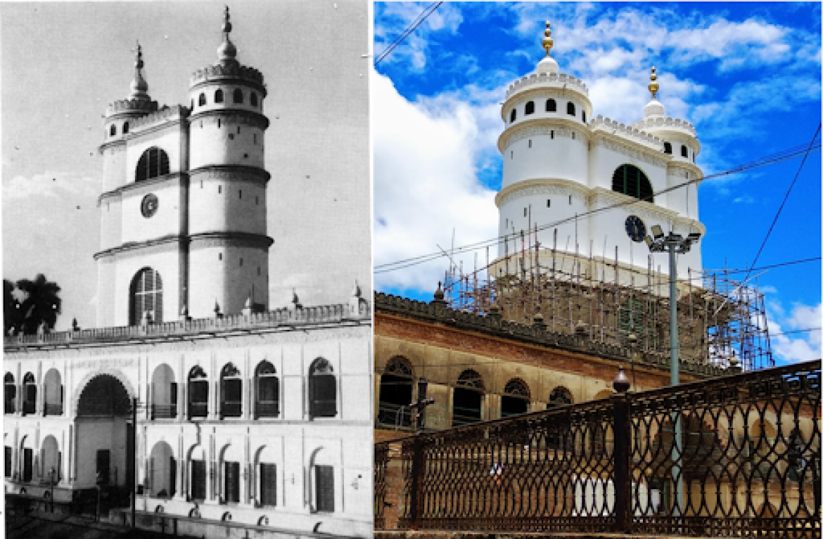 The twin towers and giant clock of the Hooghly Imambara