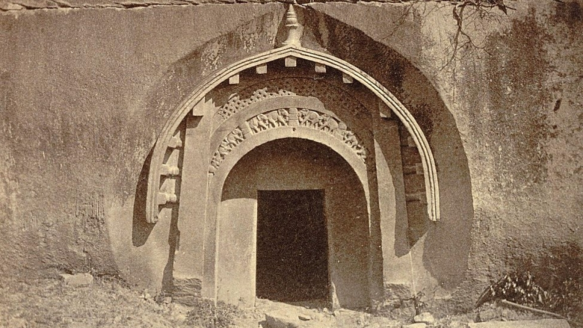 The exterior of one of the Barabar Caves in 1870