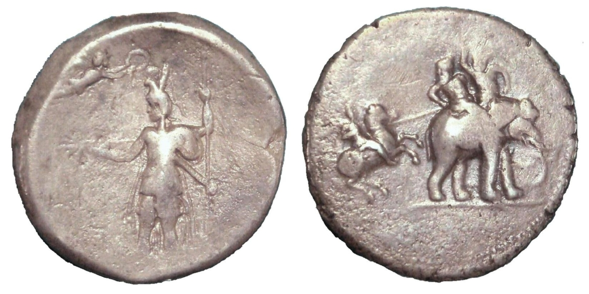 'Victory coin' of Alexander minted in Babylon c. 322 BCE. Obverse: Alexander being crowned by Nike. Reverse: Alexander attacking king Porus on his elephant.