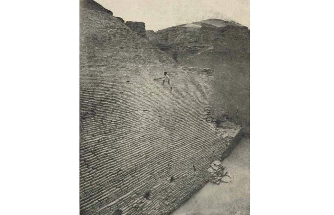 Fortified wall made of baked bricks excavated from Kaushambi