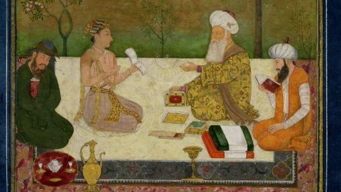 Dara Shukoh with three sages with inscription