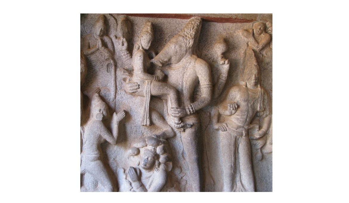 Sculpture of Varaha lifting Bhudevi at Mahabalipuram