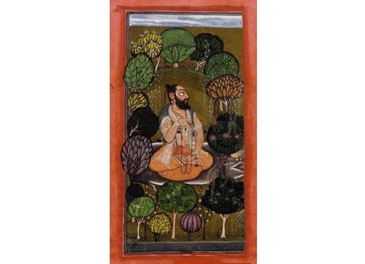 Sage Bharata I writing the Natyasastra, Rajasthani miniature painting