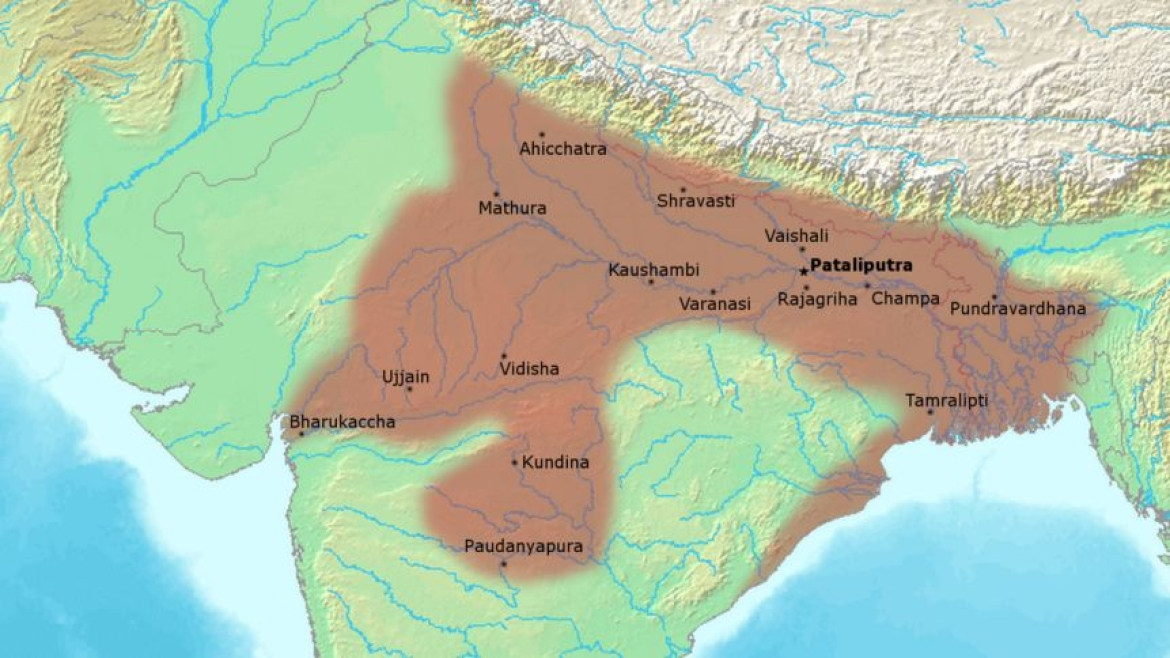 Possible extent of the Nanda Empire under its last ruler Dhana Nanda (c. 325 BCE)