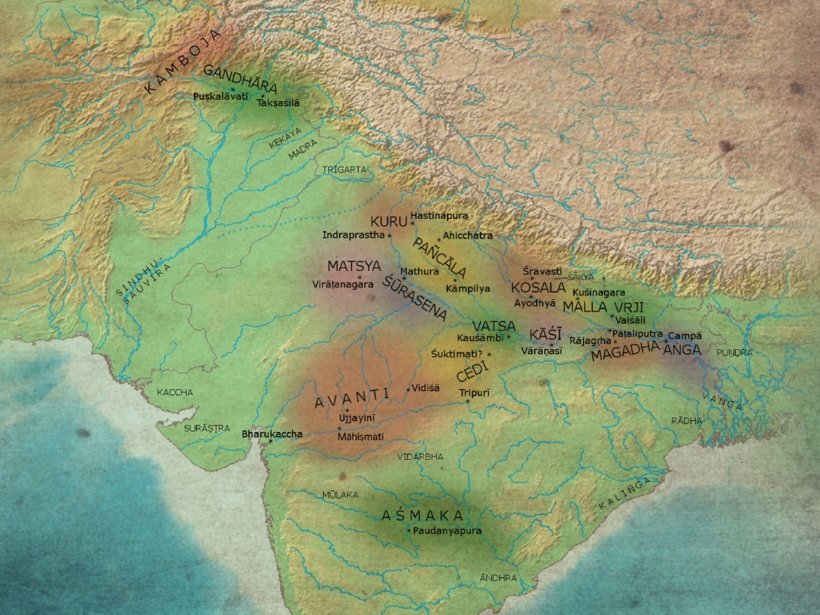 Division of northern India into Mahajanapadas just before the time of Kautilya