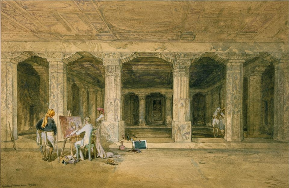 Painting of Robert Gill at the caves of Ajanta, by William Simpson, 1862