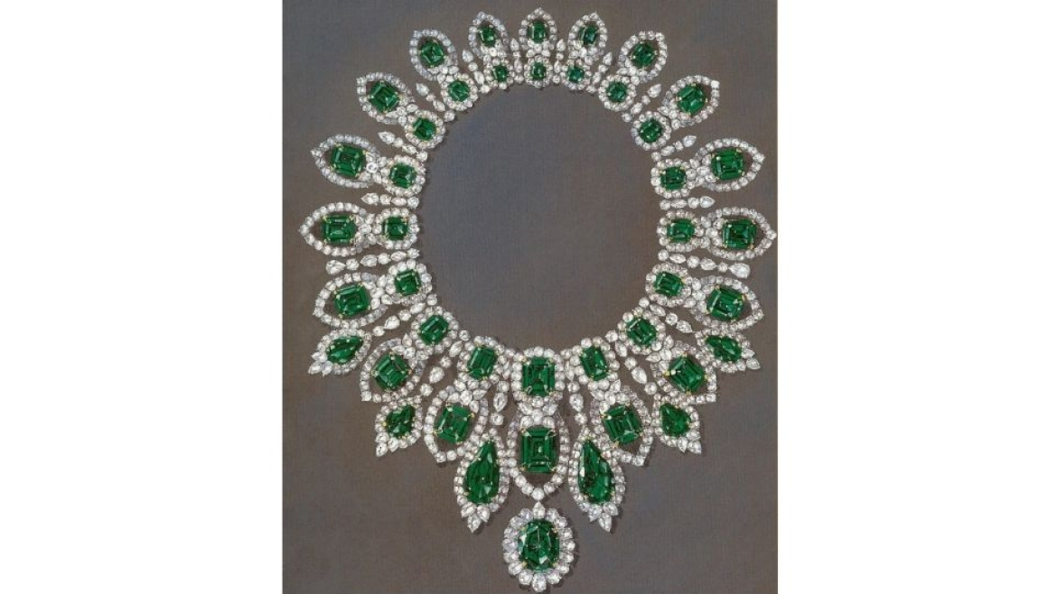 Shinde's design for a emerald necklace