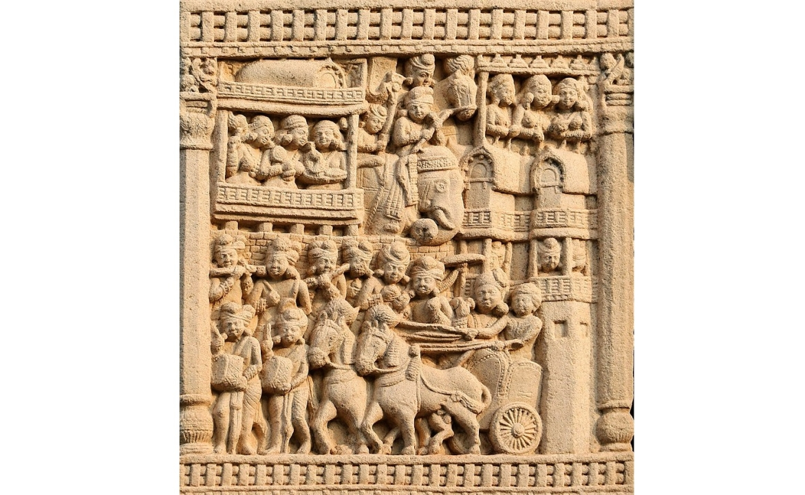 Royal procession leaving Rajgir, possibly depicting Ajatashatru, from Sanchi
