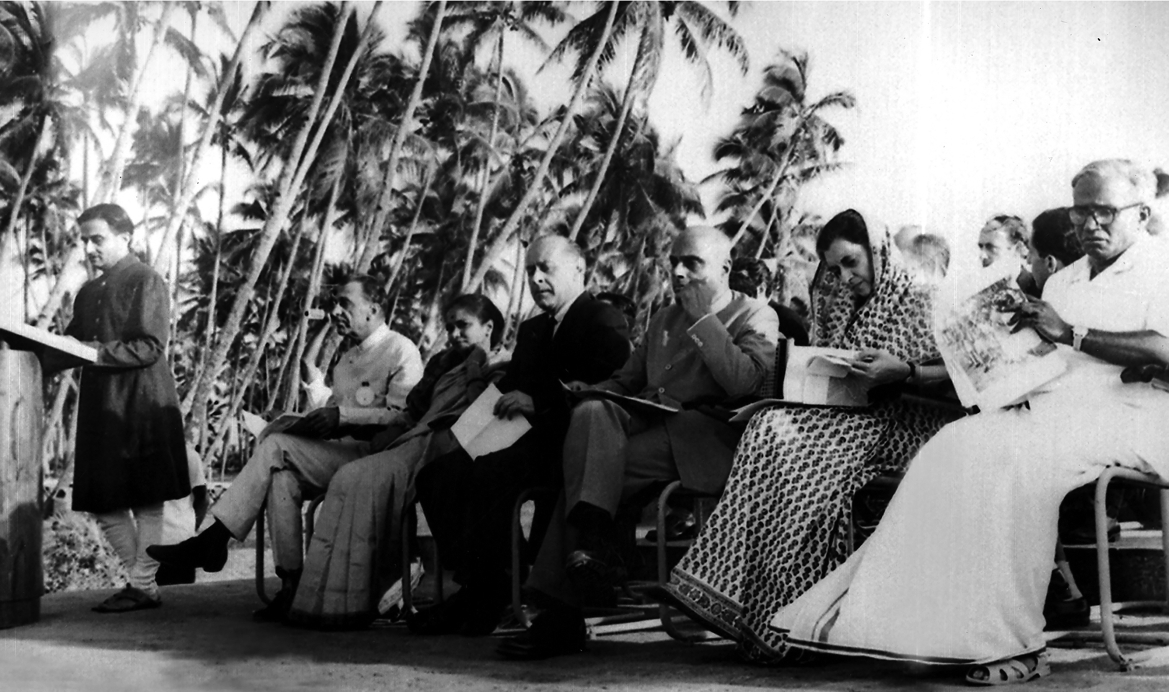 Vikram Sarabhai addresses a gathering. Sitting extreme left: JRD Tata, and extreme right: EMS Namboodiripad, India's first democratically elected Communist Chief Minister (of Kerala). On his right, Indira Gandhi, and on her right, the Governor of Kerala, V Viswanathan