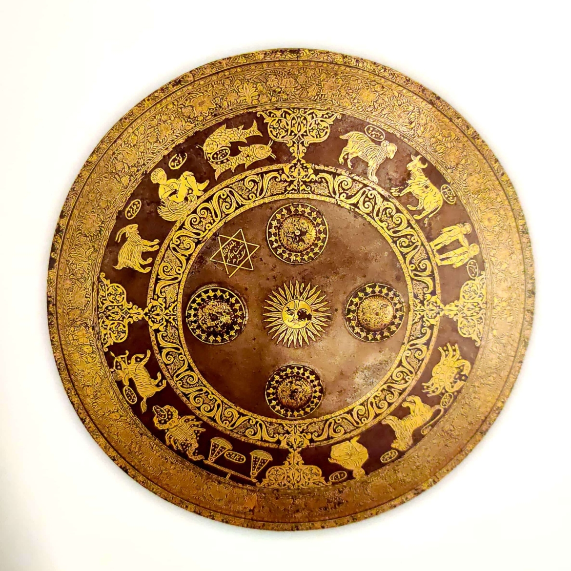 Akbar's shield with Koftgari work at the CSMVS