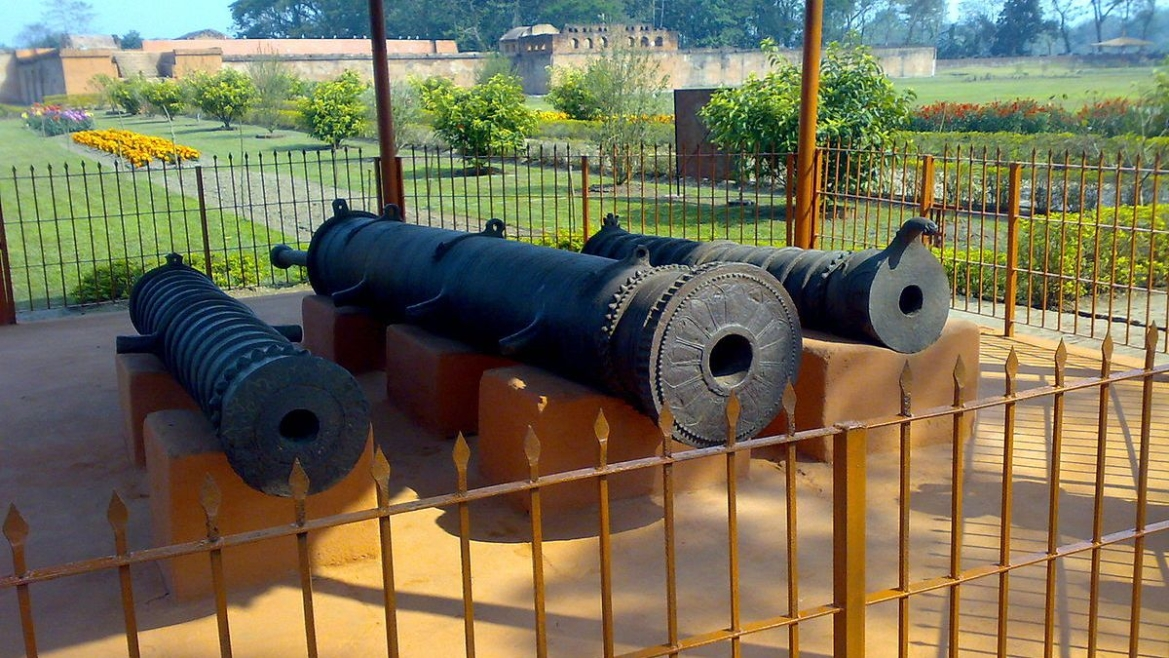 Cannons displayed at Talatal Ghar
