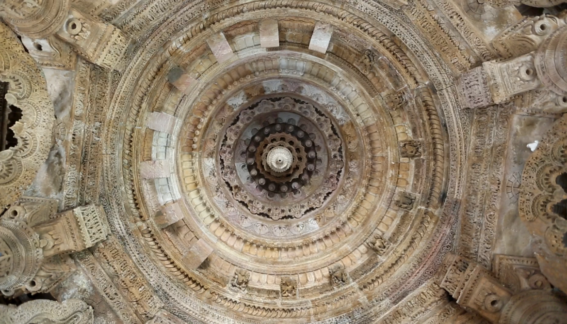 The ornamentation of the ceiling