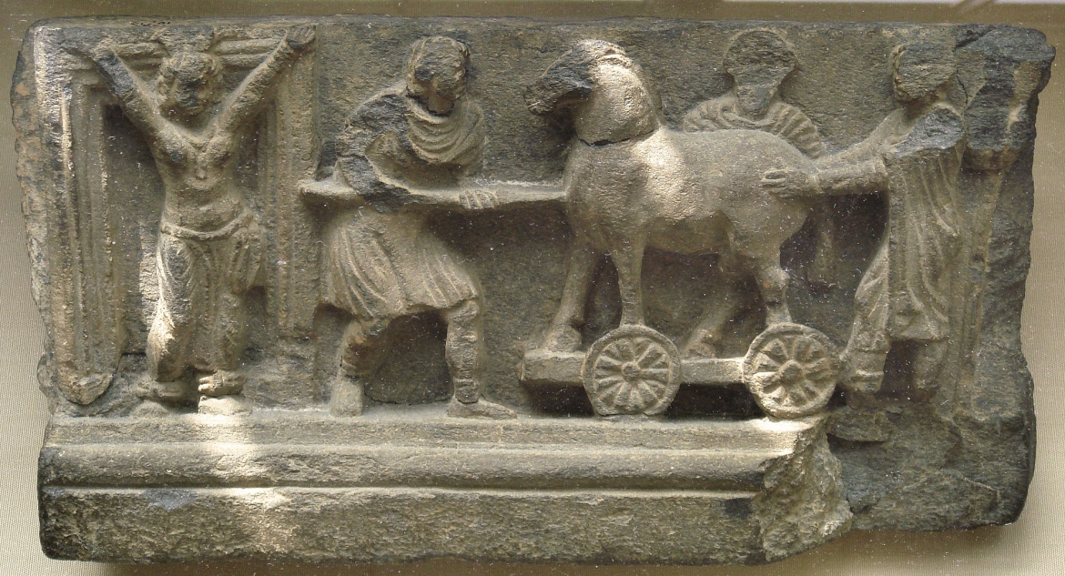 The story of the Trojan horse was depicted in the art of Gandhara
