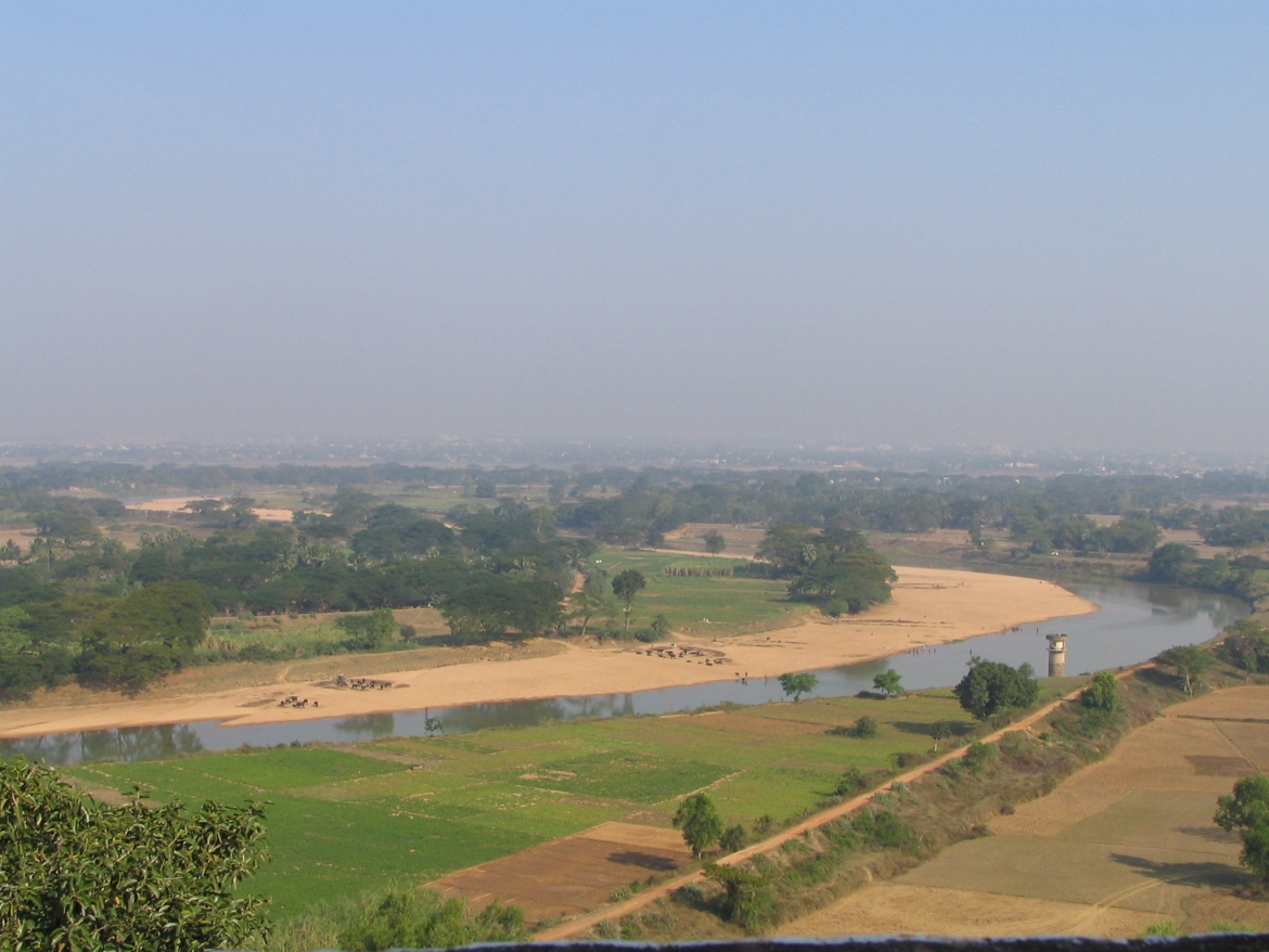 A view of the banks of the Daya River, the supposed battlefield of Kalinga from atop Dhauli hills