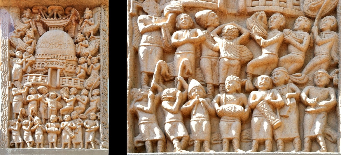 Foreign devotees and musicians on the Northern Gateway of Stupa I, Sanchi