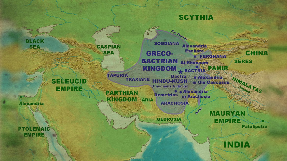 The extent of the Greco-Bactrian kingdom circa 180 BC