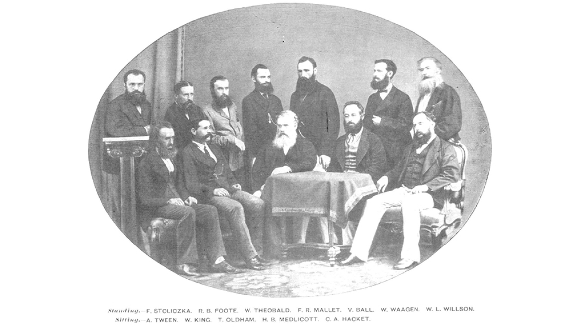 The Geological Survey of India in 1870 CE with Robert Bruce Foote, standing second from right