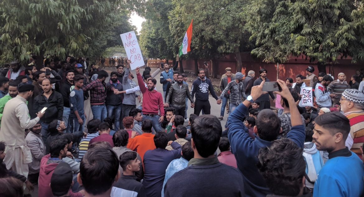 Jamia students and locals protesting in New Delhi