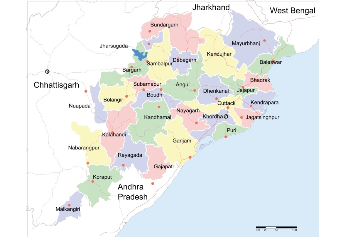 Odisha's state map with Mayurbhanj district