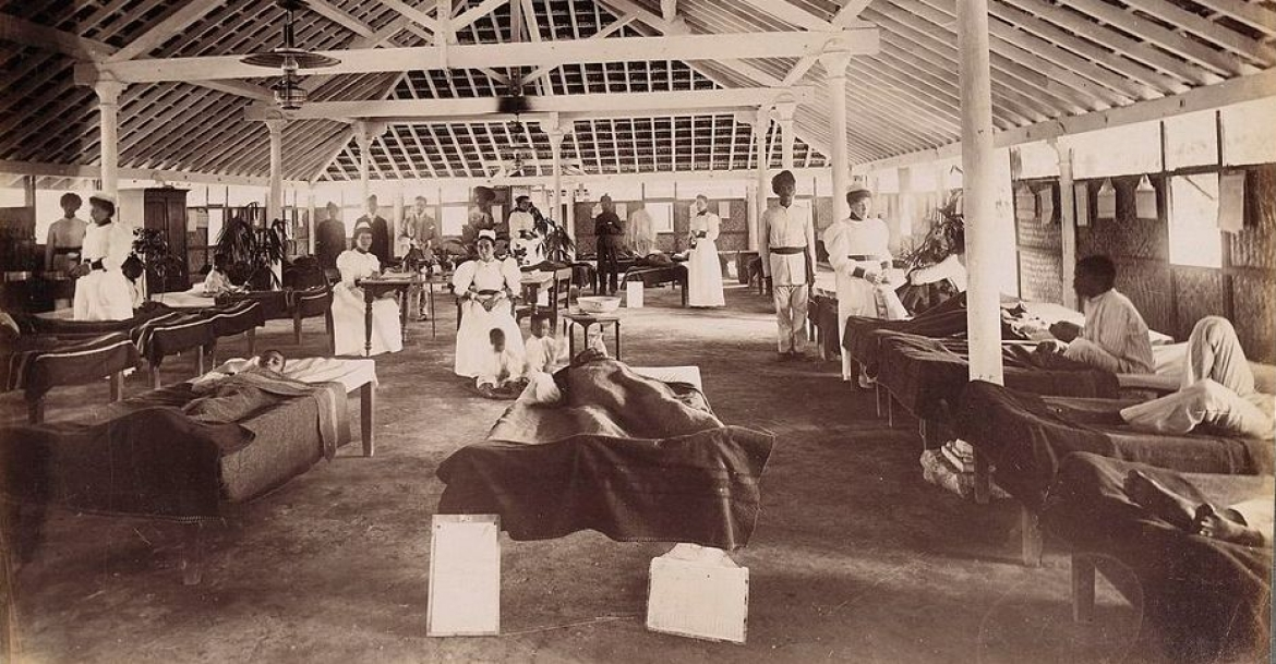 Interior of a temporary hospital for plague victims, Bombay