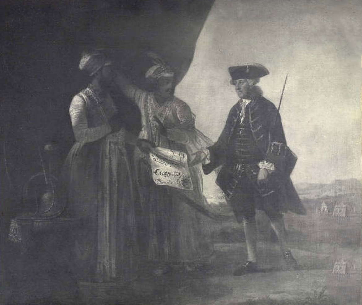 Jafar and his son Miran delivering the Treaty of 1757 to William Watts