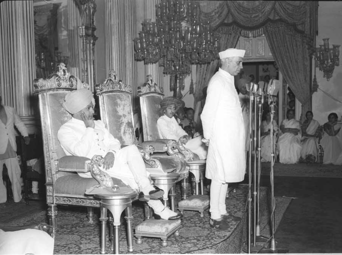 Photograph taken on the occasion of the inauguration of the Indore-Gwalior-Malwa Union (into Madhya Bharat) by Jawaharlal Nehru, at Gwalior on May 28, 1948