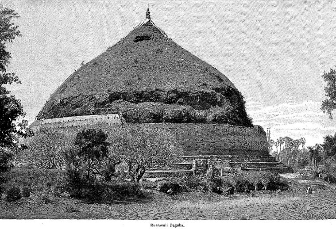 Ruwanwelisaya Stupa in 1891 before conservation and reconstruction
