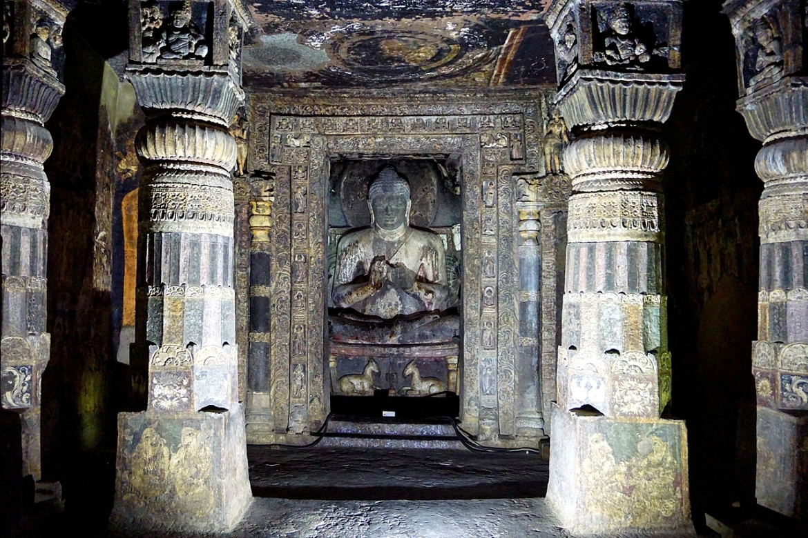 Exterior view and inside hall with seated Buddha statue, Cave 17