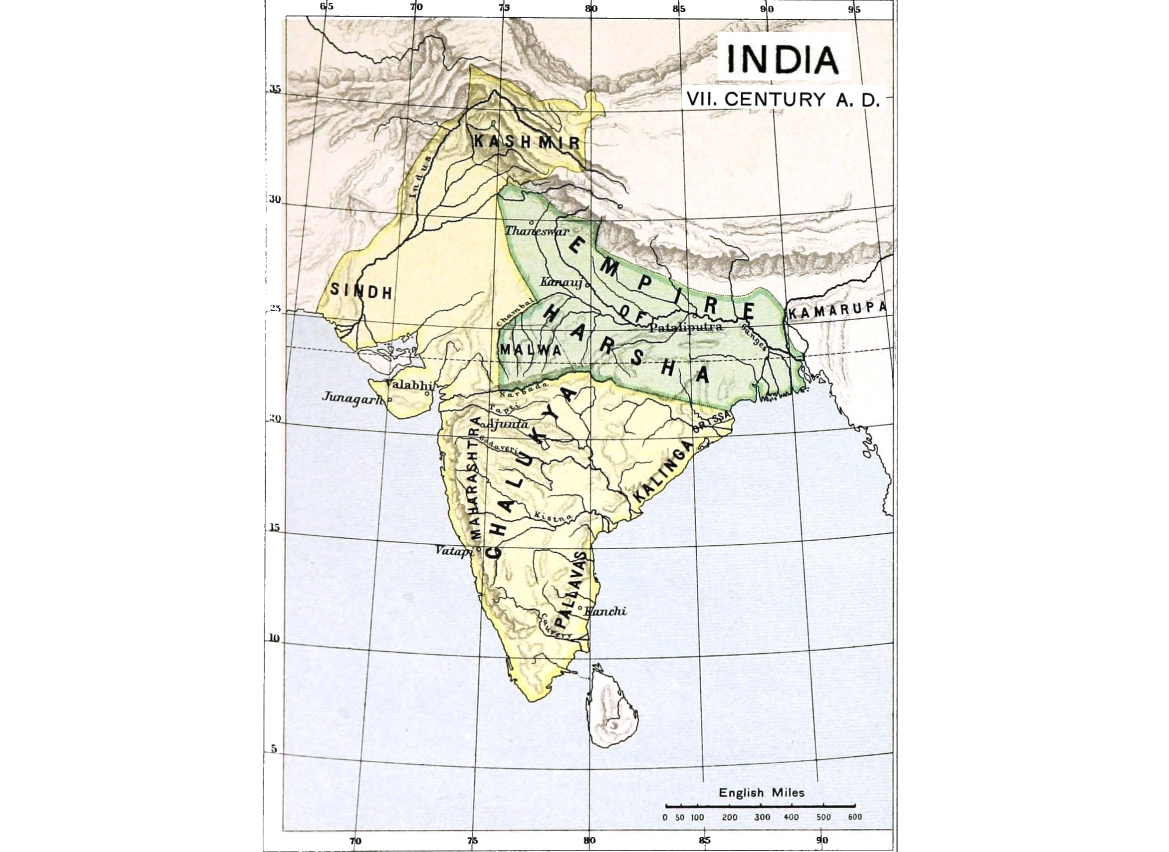 India's map of the 7th Century showing Harsha's empire