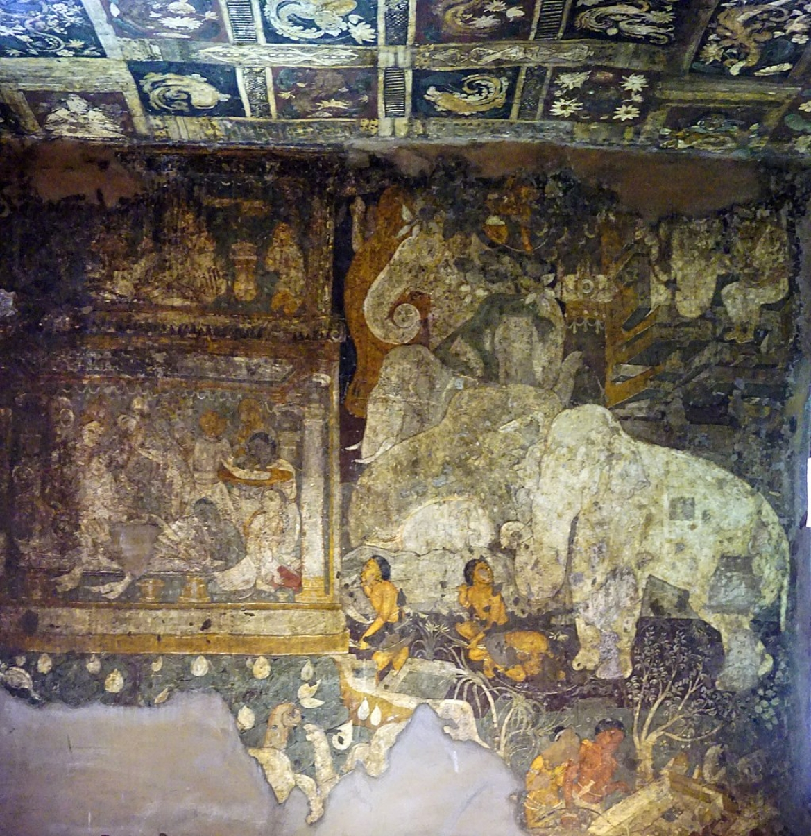 Painting depicting The King's White Elephant from Jataka tales, Cave 17