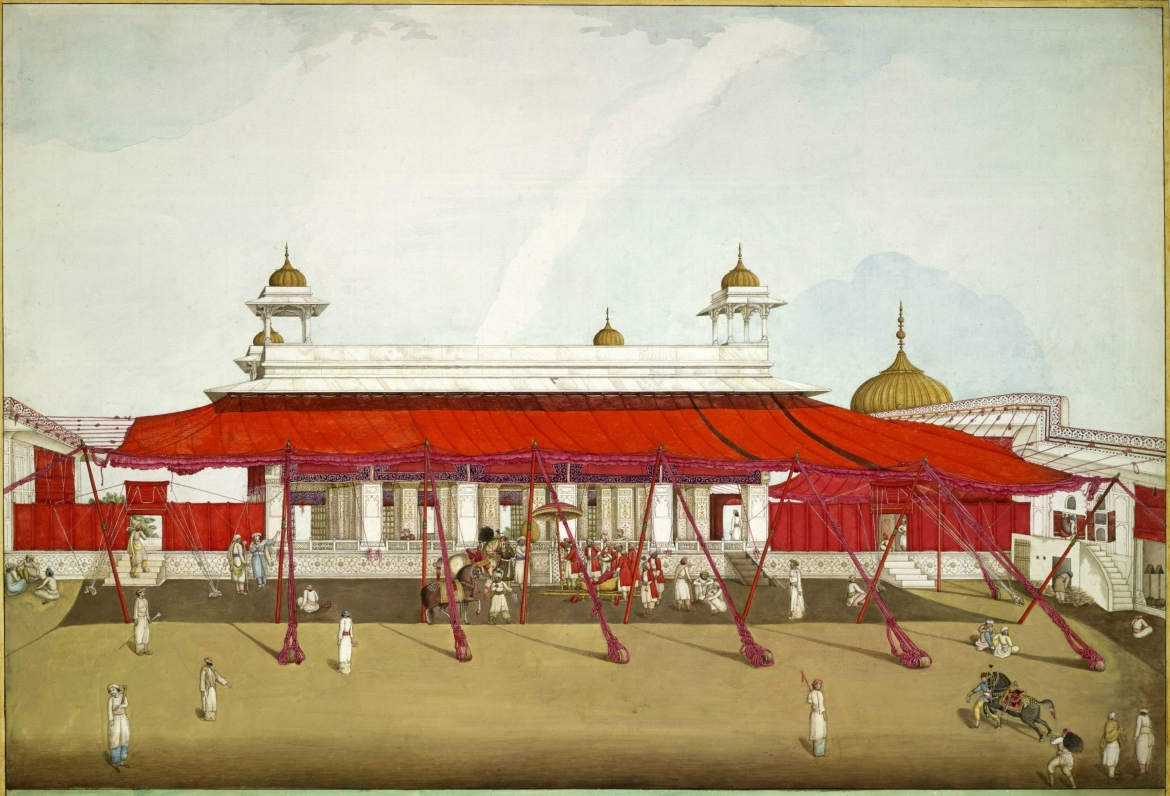 Diwan-i-Khas with shamianas, painting by Ghulam Ali Khan