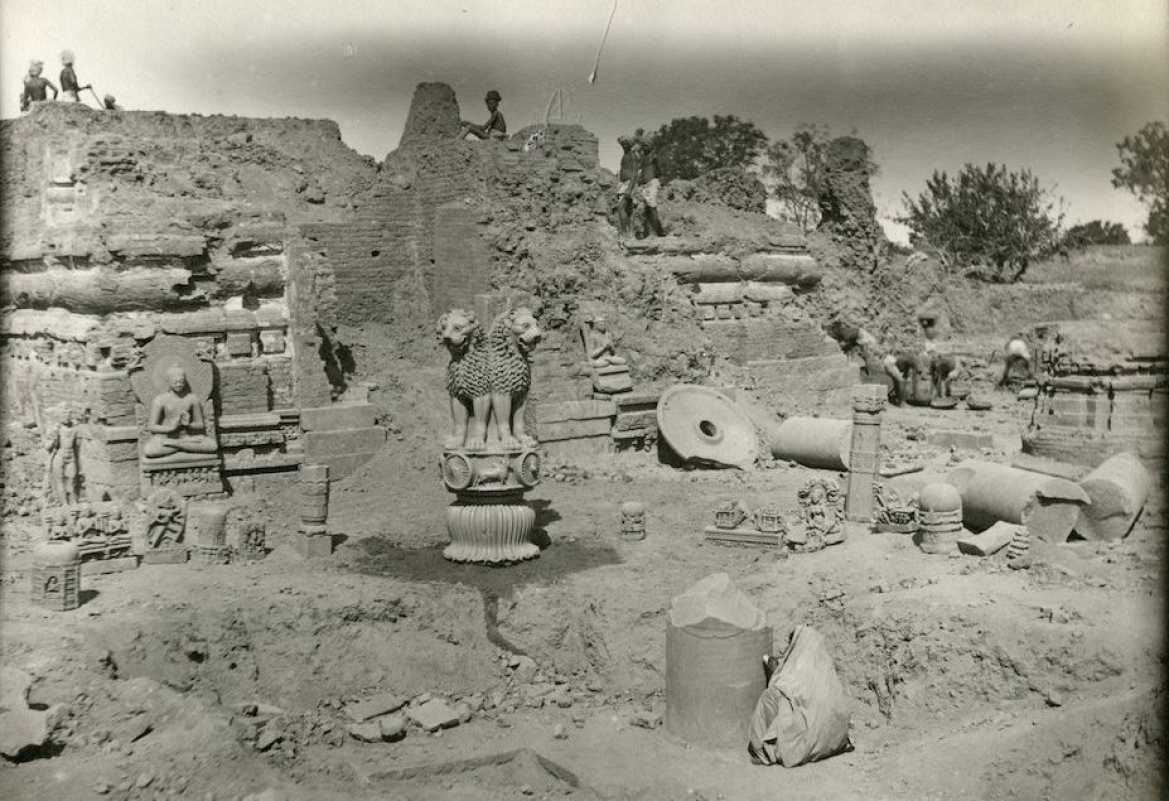 Excavation at Sarnath, pieces of Ashoka's pillar and his lion capital as well as statues of Buddha can be seen in the photo