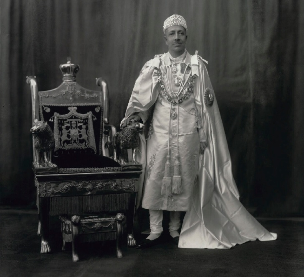 Nawab Hamid Ali Khan with the gold throne, and wearing a Golconda diamond studded cap