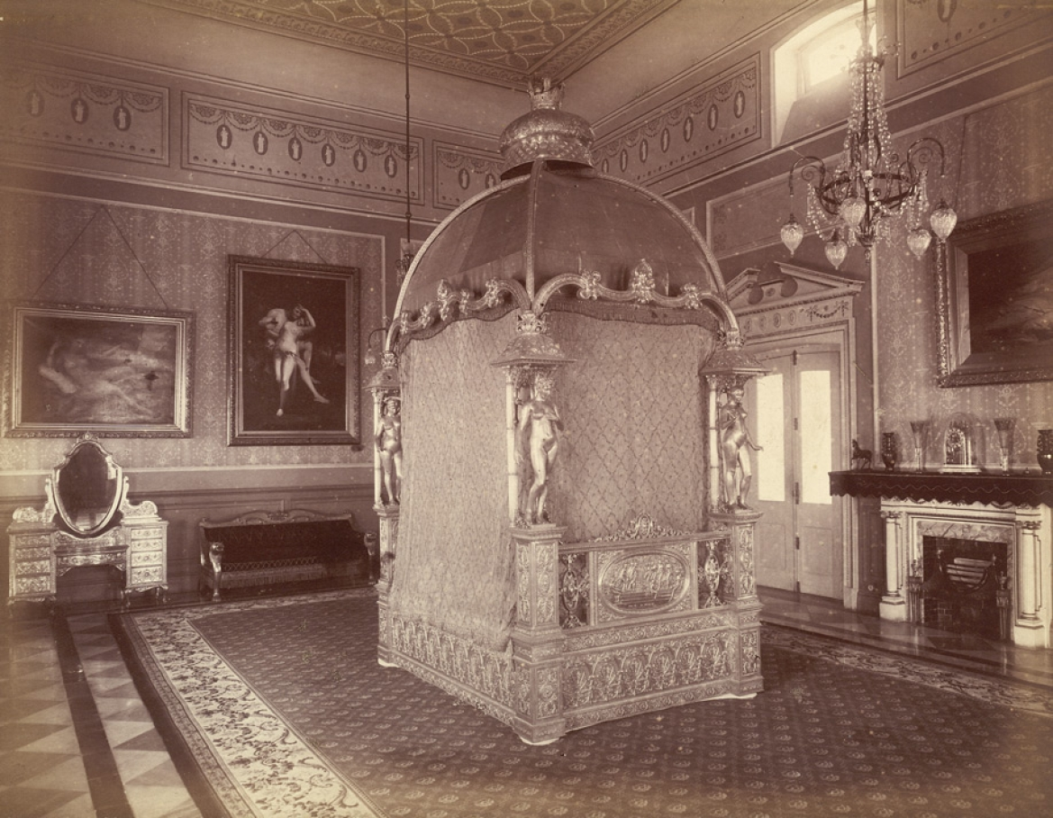 Nawab's bedroom with the gold bed and silver dressing table in the background