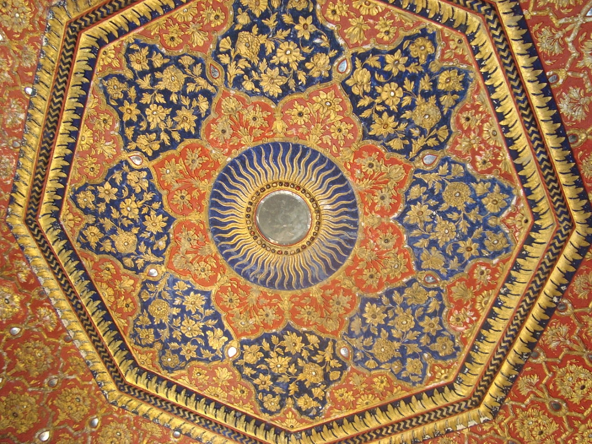 Ornate Ceiling of the Golden Temple  in gold and precious stones
