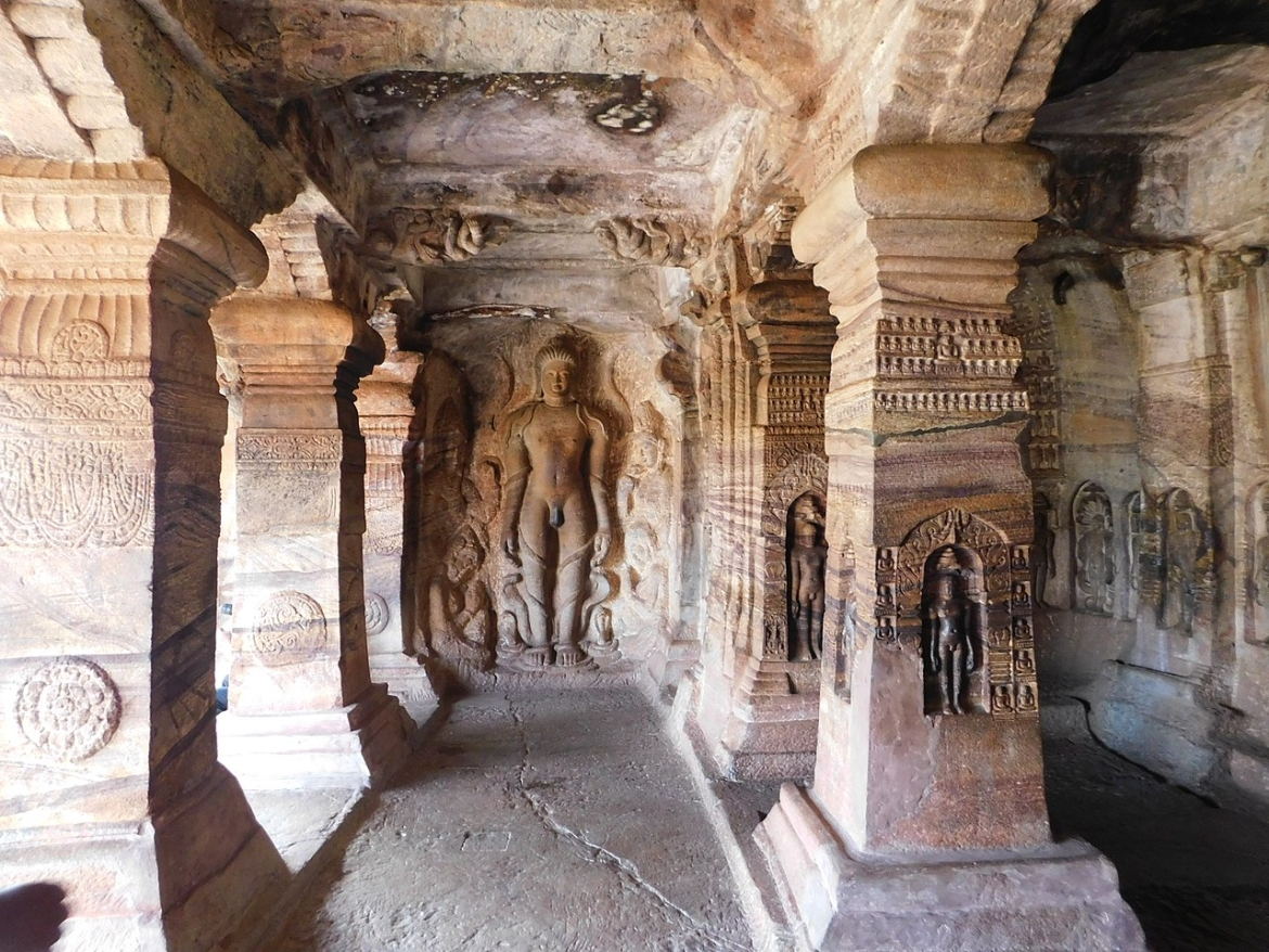 Cave 4 with a sculpture of Bahubali