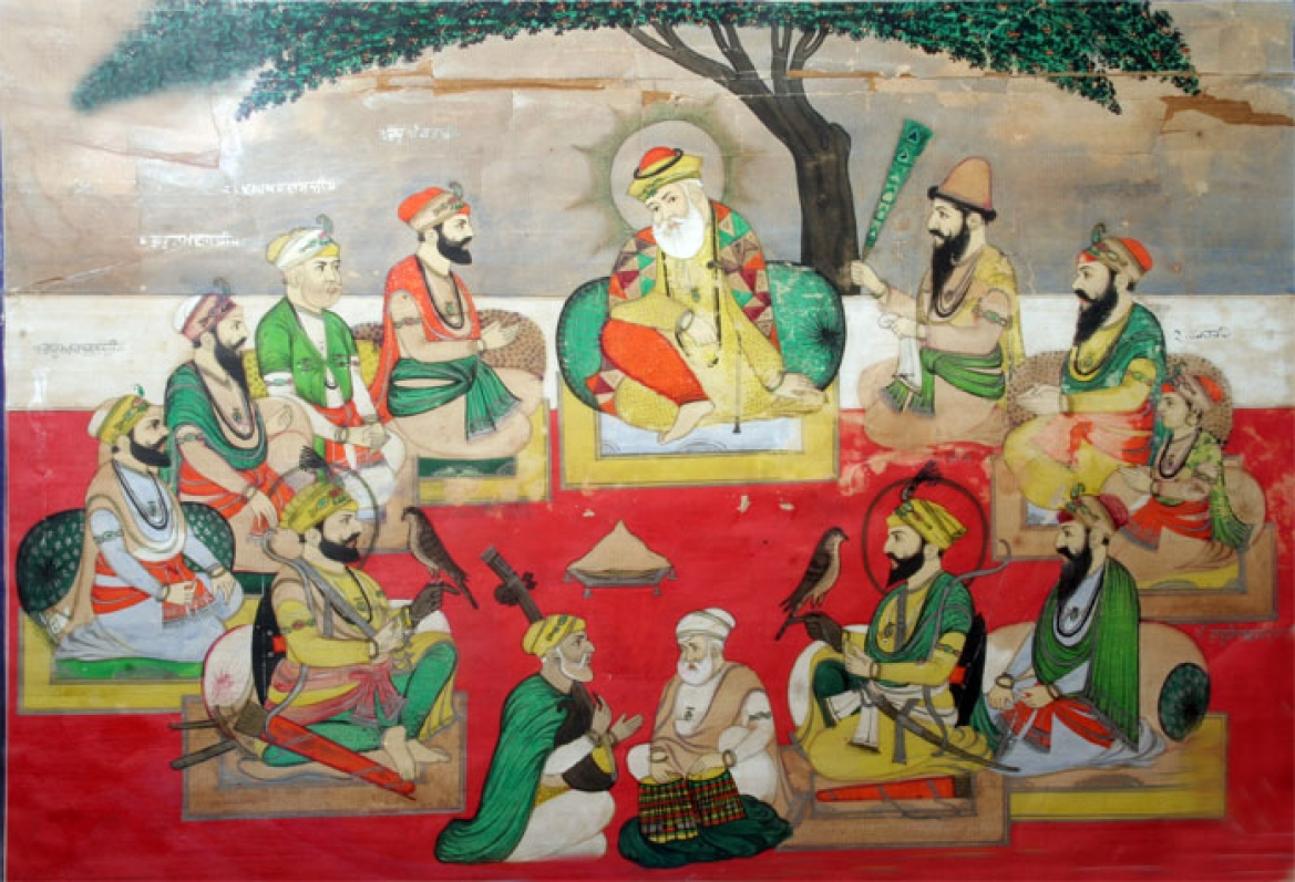 A miniature painting, dated 1890, depicting an 'imaginary portrait' of the ten Gurus and others