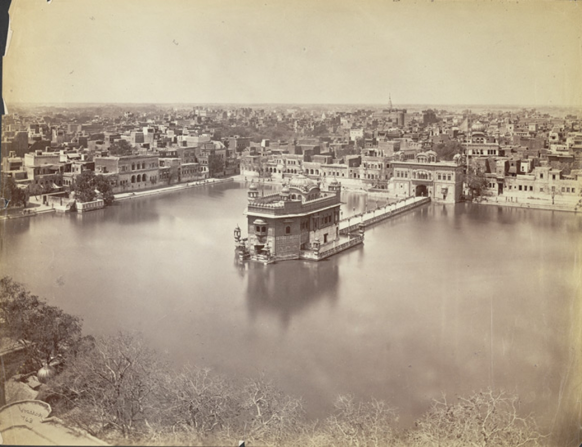 The Golden Temple and sacred tank at Amritsar, photo taken by George Craddock in the 1880s