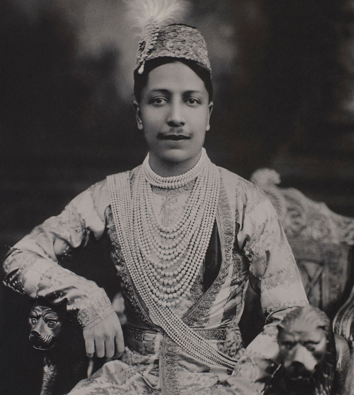 Nawab Hamid Ali Khan wearing the famous Rampur pearls
